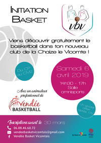 Flyer du stage découverte de basketball a la Chaize le Vicomte